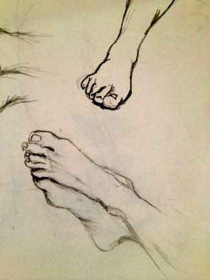 "Sketchbook. Feet. Pencil. 16"" x 20"""
