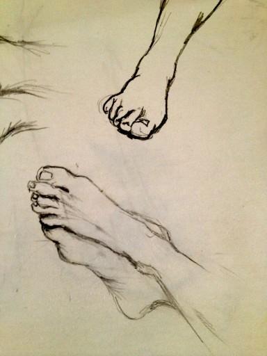 "Sketchbook. Feet. Pencil. 16"" x 20"""