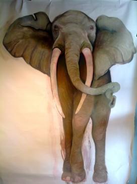 "Elephant. Pastel. With Judy Blundell. 72"" x 120"""