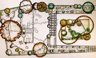 """Landscape Plan II. Ink on Paper. 8"""" x 14"""""""