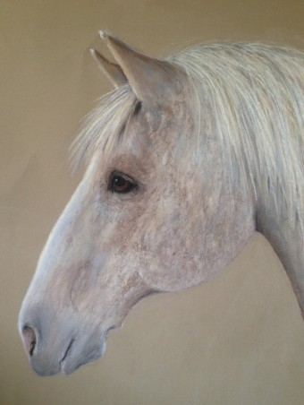 """Stone Horse. Pastel on Sanded Paper. 18"""" x 24"""""""