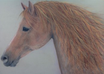 "Fire Horse. Pastel on Sanded Paper. 18"" x 24"""