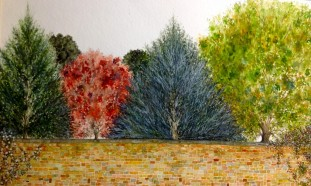 "English Wall. Watercolour. 8"" x 14"""