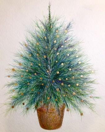"Christmas Card. Watercolour & Gold Leaf. 5"" x 7"""
