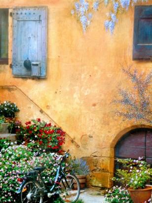 """Languedoc Walls. Mixed Media. 11"""" x 14"""""""