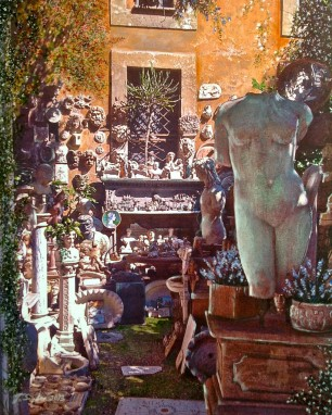 "The Garden Shop in Rome. Mixed Media. 11"" x 14"""