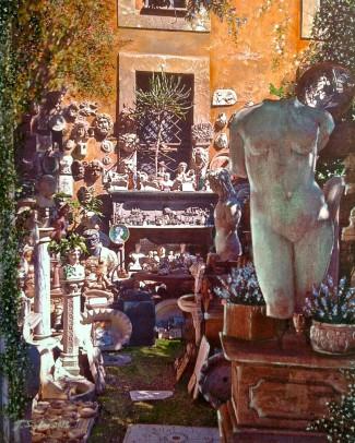 """The Garden Shop in Rome. Mixed Media. 11"""" x 14"""""""