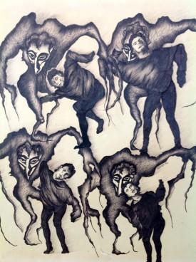 "Nightmare. Ink on Paper. 10"" x 13"""