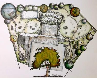 """Landscape Plan I. Ink on Paper. 10"""" x 14"""""""
