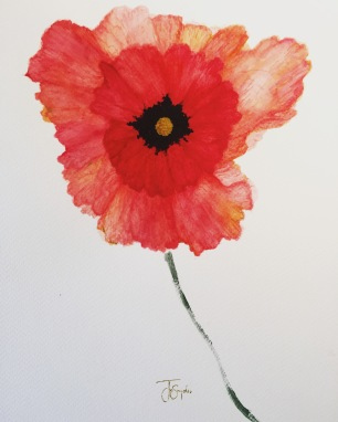 "Poppy. Watercolor. 11"" x 14"""