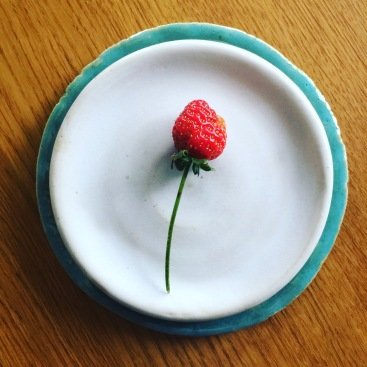 Home grown strawberry, handmade plate